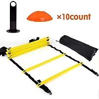 UNIVIEW El Entrenamiento de la Escala, la Velocidad de la Agilidad Kit de Entrenamiento Escalera - 12 Ajustable Plana peldaños y los Conos 10 (Naranja/Amarillo) for el Equipo de Tranning