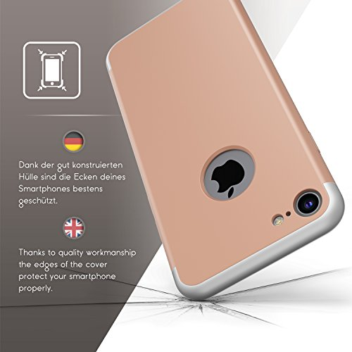 Coque iPhone 7, Urcover PC Cover [Ultra Mince] Rouge Housse Étui Téléphone Smartphone pour Apple iPhone 7 Case Rose Dorée