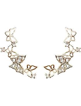 QUKE 925 Sterling Silber Zirkonia Kristall 3D Schmetterling Design Ear Cuff Ohrstecker Ohrringe Modeschmuck