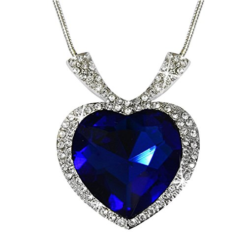 Peora Silver Plated Sapphire Blue Titanic Heart of the Ocean Crystal Pendant Necklace Women Girl  available at amazon for Rs.399