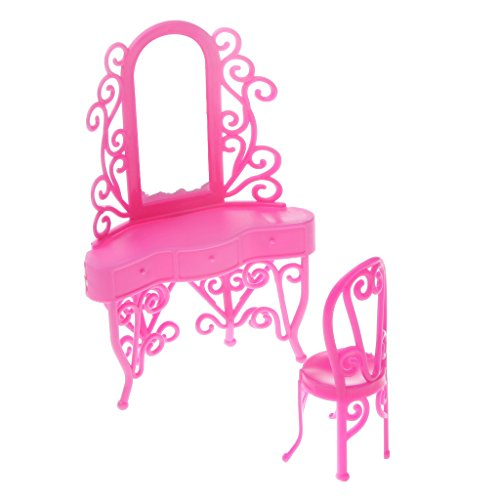 Segolike Mini Pink Dresser Set Bedroom Furniture Makeup Table & Chair for Barbie Doll  available at amazon for Rs.180