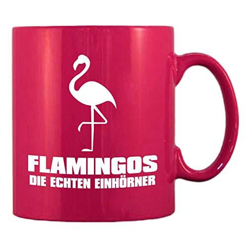 Pinke Kaffeetasse aus Glas 300ml große Tasse bedruckt FLAMINGOS Die echten Einhörner