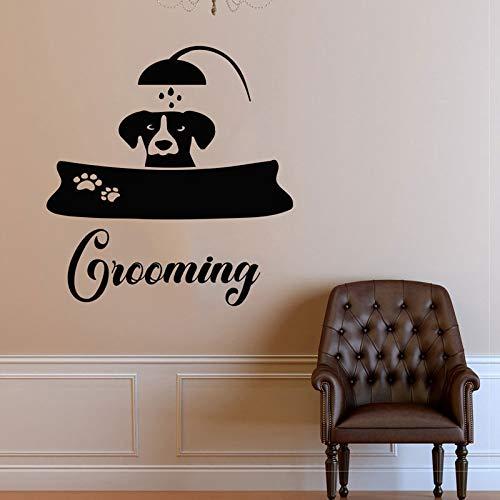 yiyiyaya Decalcomanie della Parete del Cane Benvenuto Grooming Salon Decalcomania del Vinile Adesivo Pet Shop Animali Decor Interior Design Art Murale 57X60CM