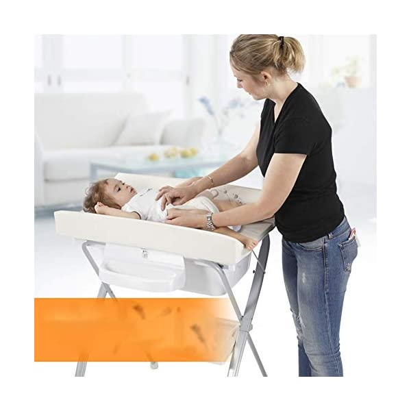 Changing Table Baby Changing Table Portable Folding Diaper Station Nursery Organizer for Infant Save Space Cross Leg Style (Color : White) Changing Table ●Size and Safe and Stable- L74 x W48 x H100cm,Suitable for babies weighing less than 25kg,With seat belt,Changing pad has a restraining strap for added safety and is made of easy to clean, soft ●2-in-1 design- Baby changing table can be used as baby massaging table as well. It is designed at the proper height of parent to prevent mom's back aches and pains from kneeling or bending when changing diapers to babies. ●Premium materials - Using high-quality materials for our 2 in 1 infant changing table,Reinforced metal,it is durable and stable for long time daily use,And easy to clean and maintain. 4