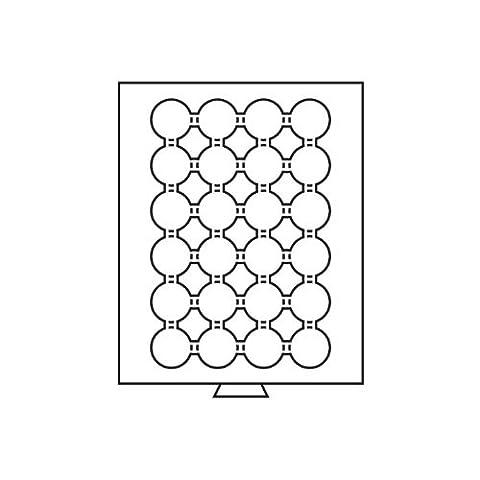 LEUCHTTURM Münzbox mit 24 eckigen Fächern (42 MM) | Rauchfarben mit Dunkelroter Einlage (Sammler Casino Chips)