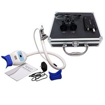 Instrumenten-box Chirurgische (ASICO Dental Teeth Whitening Bleaching Lampe Accelerator + 3,5x 420mm Chirurgische Binokularlupen + Kopf-Licht-Lampe + blauen Aluminium Box)