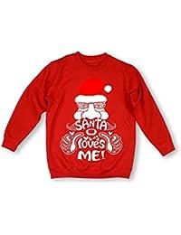 Stunning 'Santa Loves Me!' Ladies Raglan style sweatshirt -ideal Christmas gift present -Various sizes & colours