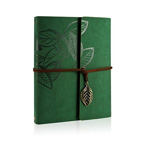 Rymall Album photo rétro, Bricolage PU album photo en famille album Sketchbook anniversaire, Album-60Pages mariage (Vert)