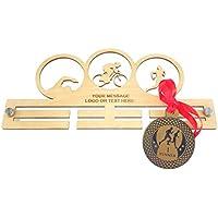 Personalizado Medalla de triatlón temáticas de acrílico soporte: grande 29 cm tamaño, color Madera