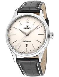 Kronos - Elegance Automatic Silver 787.105 - Reloj de caballero automático, correa de piel marrón, color esfera:…