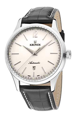 KRONOS - Elegance Automatic Silver 787.105 - Reloj de Caballero automático, Correa de Piel marrón...