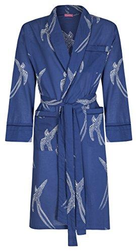Susannah Cotton Designer Morgenmantel, Premium Baumwolle Herren, Männer Jungen Bademantel, Marine-BLAU mit Schwalben Printmuster, Kimono Hausmantel 100% Soft, leicht, lang Sleepwear