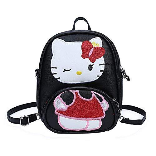 JHiojjejg PU Leder Mädchen Hello Kitty Kindergarten Schultasche Kawaii Karikatur Rucksack Klein Travel Daypacks (Color : Schwarz, Size : -) -