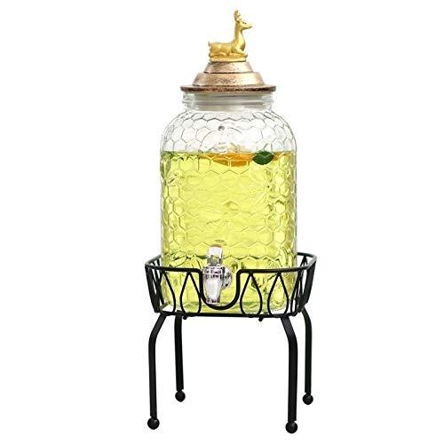 DLINMEI Getränkespender, Metallständer, Klarglasflasche mit auslauffreiem Zapfen, Deer Cover, Einzelgetränk (Color : Black, Size : Style b) (Mini Wasser-krug-spender)