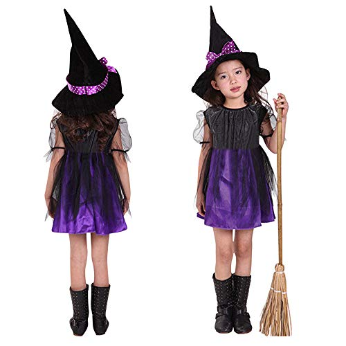 LoveLeiter Kinder Halloween Cosplay Kostüm Rock + Hut Zweiteiler,Kind Passende Hut Knie-Kleid Mädchen Mode Einfarbig Rundhalsausschnitt Kurzarm A-Linie Bühnenshow Kleidung