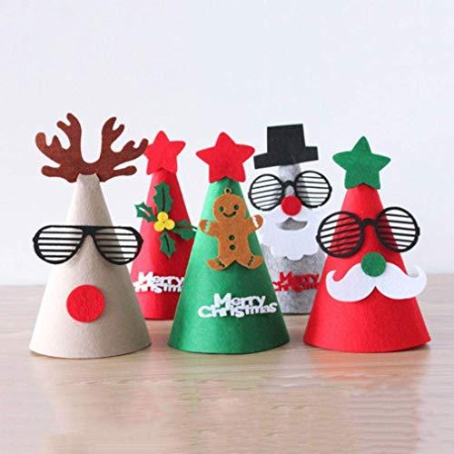 wewwe232783ajshgq Value-for-Money Mode Fröhliche Weihnachten Hut Filz Abdeckung Santa Schneemann Weihnachten Form für Kinder Erwachsene Party Dekoration für Heim Dekoration - Bild Farbe