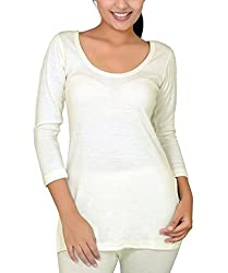 Romano Womens 100% Pure Wool Full Sleeve Off White Thermal with Woolmark