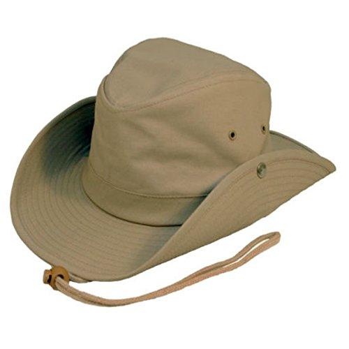 Safari Outback Bush breiter Flügel Badekappe 100% australischen Sonne G Baumwolle grün Stil Tiroler WRAPEEZY mit Sockel de, Beige 59 cm L (Bush Sockel)