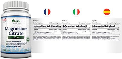 Magnesium-Citrat 200 mg – 180 Magnesium-Tabletten – Nu U Nutrition - 4