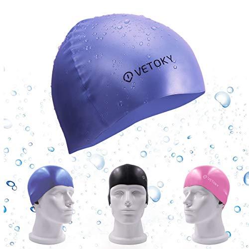 VETOKY Silikon Badekappe, Unisex Schwimmkappe 100% Wasserdicht Rutschfeste Bademütze Badehaube Für Männer, Frauen Lange Haare und Kinder (Silikon Badekappe Für Frauen)