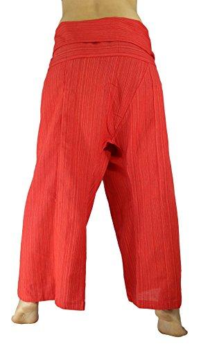 Rosina da Yoga Unisex Thai Pescatore Pantaloni larghi a righe in cotone Red