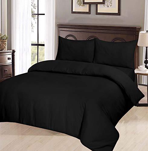 ARI Traders Thermo-Biber-Bettwäsche-Set mit Kissenbezügen, einfarbig, Bettdeckenbezug, Schwarz, King Size -