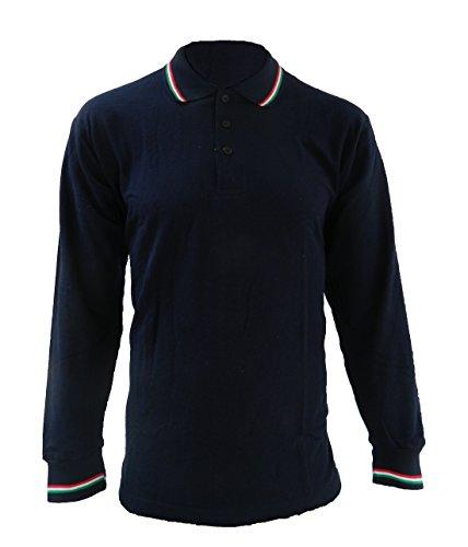 Polo Maniche Lunghe con Bordo Tricolore Blu Navy (M)