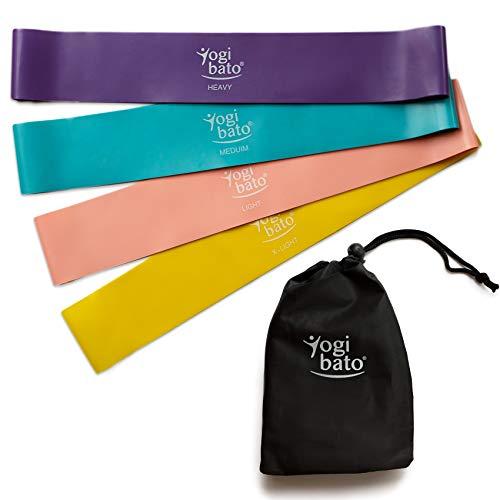 Yogibato Fitness-Band Set - 4 Widerstandsbänder für Krafttraining Physiotherapie Pilates Yoga Crossfit | Gymnastik-Band Resistance-Band Loop-Band | 4 Stärken