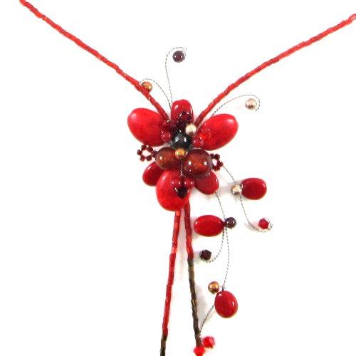 Mgd - cristallo swarovski rosso girocollo collane con diaspro ciondolo fiore - filo collane - y-collana - collana della pietra preziosa - collane donna - bella gioielli fatti a mano - ja-0025n