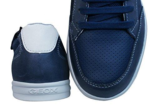 Geox J Anthor B Baskets en cuir pour garçons blue