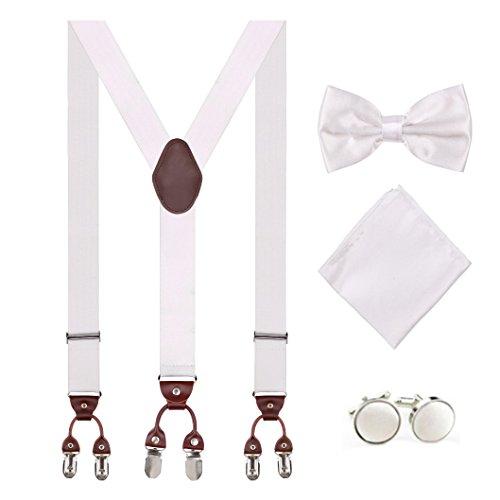 Aissy Herren Hosenträger 3.5cm Y-Form elastisch und verstellbar 6 Clips Herren Damen Hosenträger mit Pre gebunden Fliege und Einstecktuch,Weiß