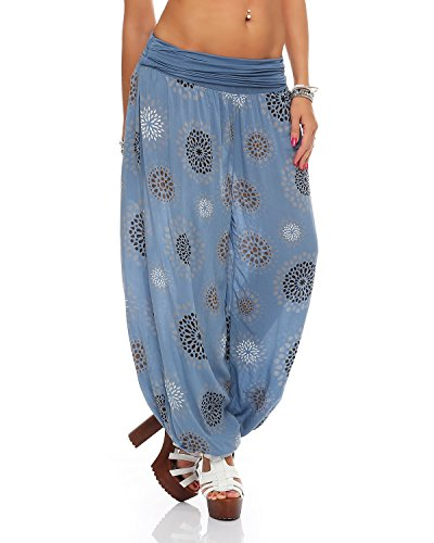 ZARMEXX Damen Pumphose Pluderhose Harem-Stil Sommerhose all over Print Freizeithose Aladinhose Hose One Size (Einheitsgröße: Gr. 36-42, jeansblau)