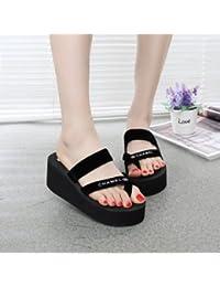 Sandalias de tacón con suela gruesa muffin hembra antideslizante zapatillas sandalias de moda,39 negro (tacones altos)