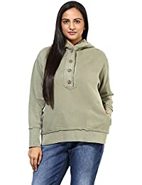 GRAIN Light Olive Green Regular fit Cotton Jackets for Women