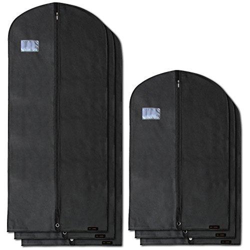 Hangerworld 6 Fundas para Ropa de 102cm y 150cm Porta Traje y Vestido Transpirable Negro Anti-Polvo