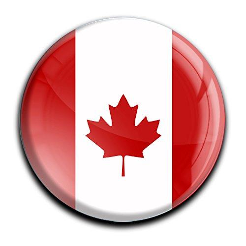 """Top Kühlschrank-Magnet - Durchmesser 4,0 cm - aus Metall mit starkem Neodym-Magnetem und hochglänzender Kunstharzbeschichtung in runder Form """"Flagge Kanada"""" von metALUm - tolles Geschenk für Kanada - Fans"""