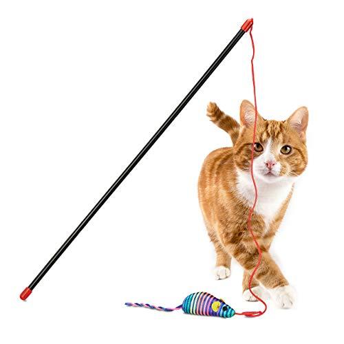 Relaxdays - Gatto con topo, allenamento e lavoro, interattivo, giocattoli per gatti, lunghezza: 47 cm, multicolore