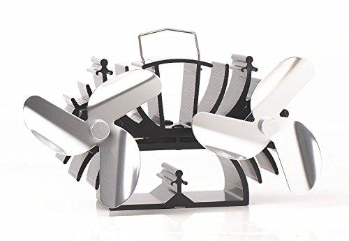 Kamin-Ventilator, mit 6Schaufeln, speziell für kleine Holzkamine zum Wärmen von Räumen nickel