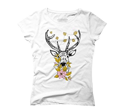 Flower Jewel White Tee (Deer with crystals and flowers Women's 2X-Large White Graphic T-Shirt - Design By Humans)