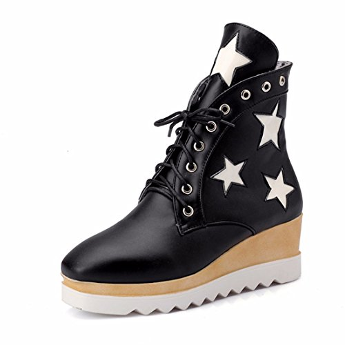RFF-Women's Shoes Big Size Women's Shoes, Thick Bottom Stars, Student Girls, Fashion Heel, Short Boots,Black,39