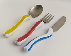 NRS Healthcare M80282 Kura Care Easy Grip Children's Cutlery - Knife, Fork & Spoon Set (Eligible for VAT relief in the UK)