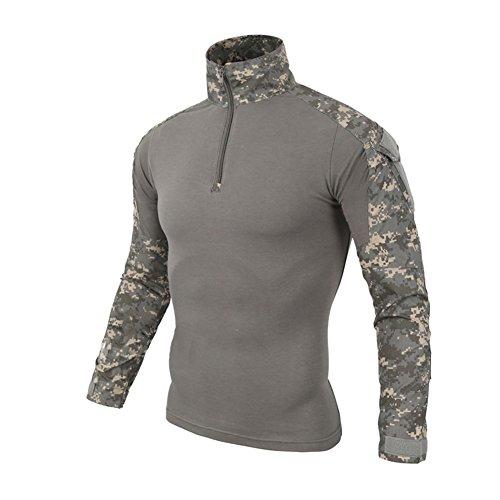 Upf Camo (SANKE Männer Langarm-Kampf-T-Shirt Military Camo Rapid Assault Zipper Tops)
