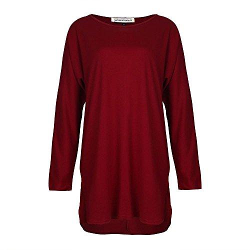 Janisramone Damen Kleid, Einfarbig * Einheitsgröße Wein