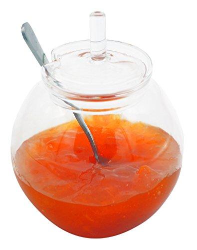 1aTTack 613840 Glas-Behälter mit Deckel und Löffel Marmleladen- Honig Topf 180ml Topf, Topf Mit Löffel