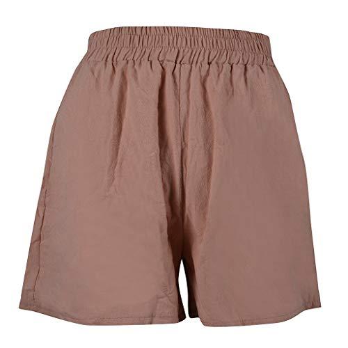 YULAND Damen Yoga Hosen Training Laufende Leggings - Frauen Beiläufige Elastische Taille Lose Baumwolle Leinen Feste Strand Shorts Hosen Scanties -