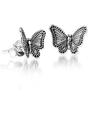 MATERIA Kinder Ohrstecker Schmetterling 925 Sterling silber antik klein #SO-146