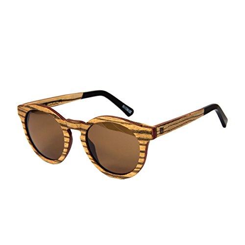 WOLA Damen Sonnenbrille Holz BAUM Brille rund Vollholz und Acetat polarisiert UV400 Zebraholz Unisex...