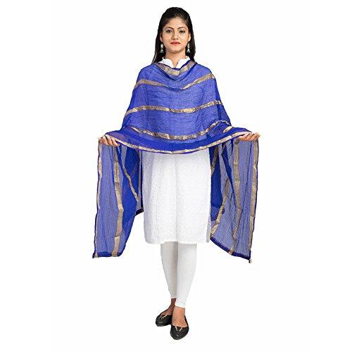 Lodestone Woman's Jute Silk Dupatta with Golden Strips (Blue)