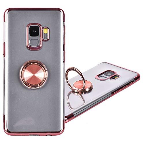 le, Galaxy S9 Hülle Dual Layer Bumper Silikon Handyhülle mit Ring Fingerhalterung 360 Grad Drehbarer Stand Magnetische Autohalterung für Frauen Mädchen Samsung Galaxy S9, Rosa ()