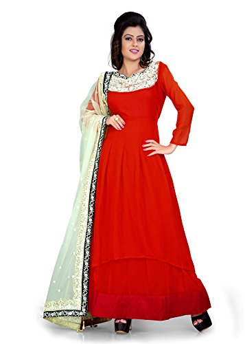 BikAw Embroidered Orange Georgette Fashion Anarkali Style Party Wear Semi-Stitched Suit. -...